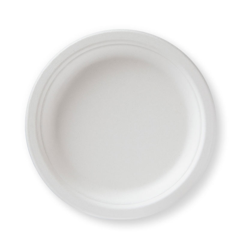 "Mikapak 100% Compostable Sugar Cane Heavy Duty Plate 7"" Round"